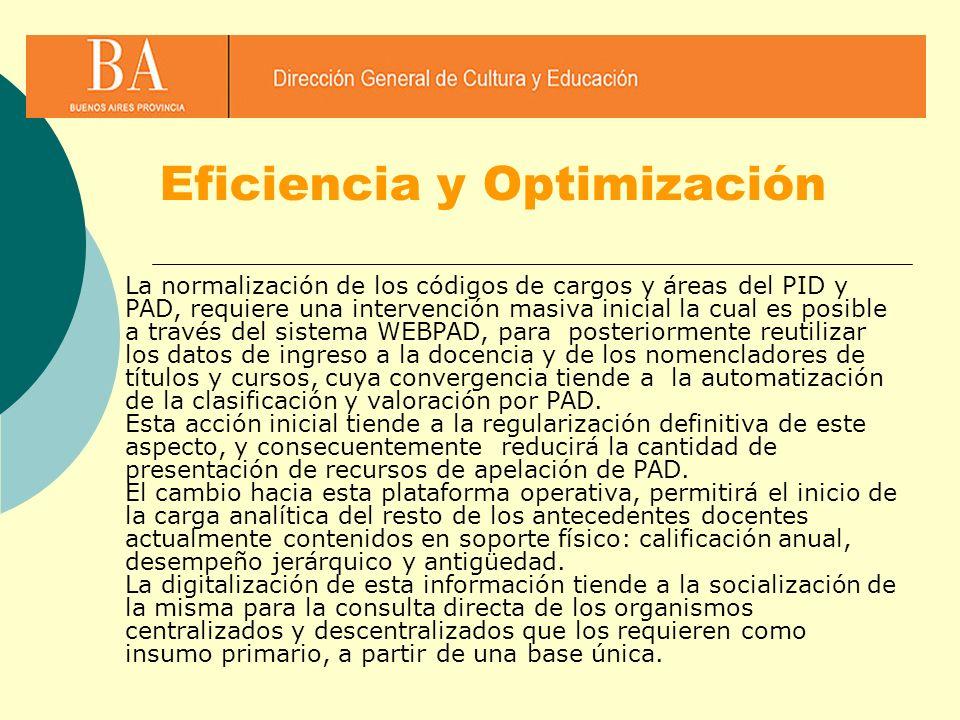 Eficiencia y Optimización La normalización de los códigos de cargos y áreas del PID y PAD, requiere una intervención masiva inicial la cual es posible