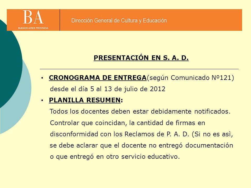 CRONOGRAMA DE ENTREGA(según Comunicado Nº121) desde el día 5 al 13 de julio de 2012 PLANILLA RESUMEN: Todos los docentes deben estar debidamente notif