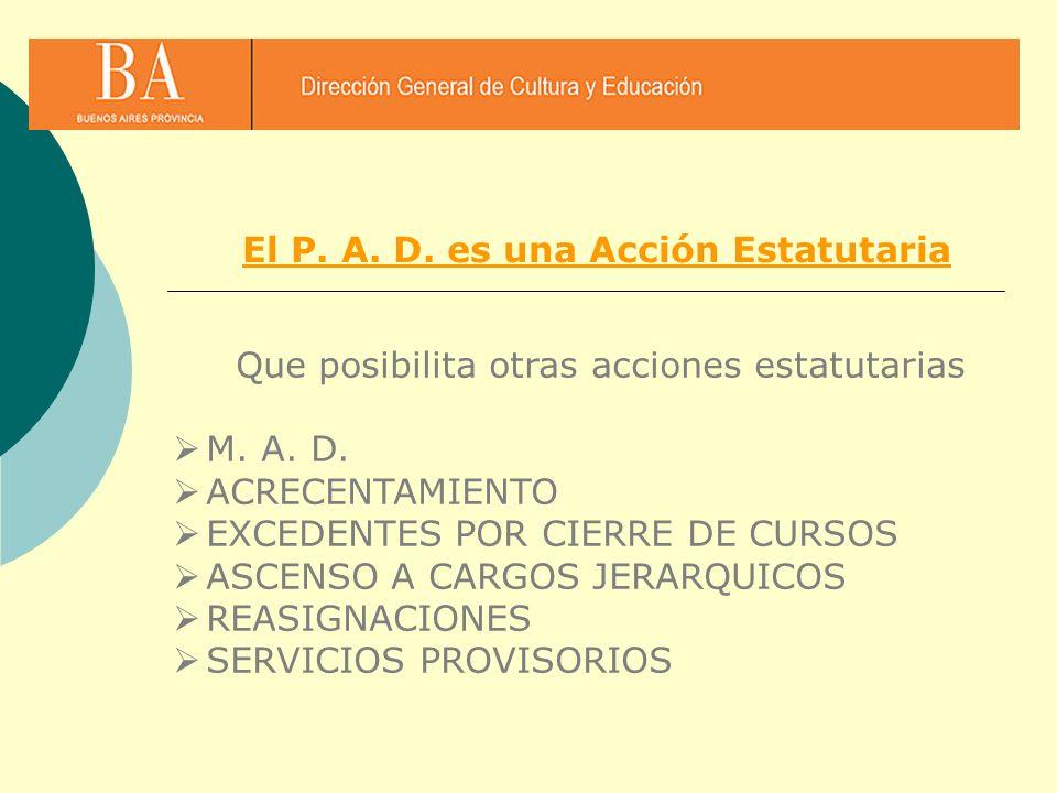 Que posibilita otras acciones estatutarias M. A. D. ACRECENTAMIENTO EXCEDENTES POR CIERRE DE CURSOS ASCENSO A CARGOS JERARQUICOS REASIGNACIONES SERVIC