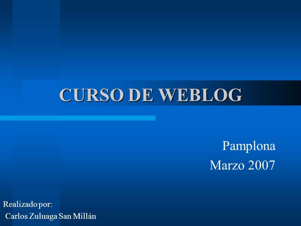CURSO DE WEBLOG Pamplona Marzo 2007 Realizado por: Carlos Zuluaga San Millán