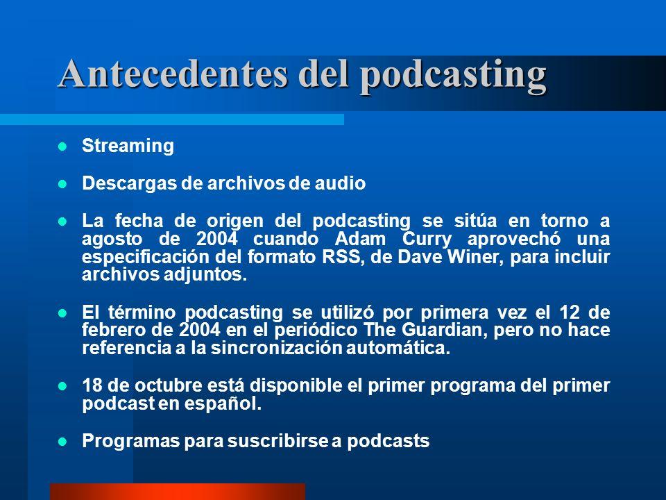 Antecedentes del podcasting Streaming Descargas de archivos de audio La fecha de origen del podcasting se sitúa en torno a agosto de 2004 cuando Adam