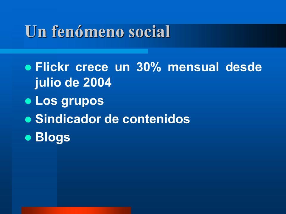 Un fenómeno social Flickr crece un 30% mensual desde julio de 2004 Los grupos Sindicador de contenidos Blogs