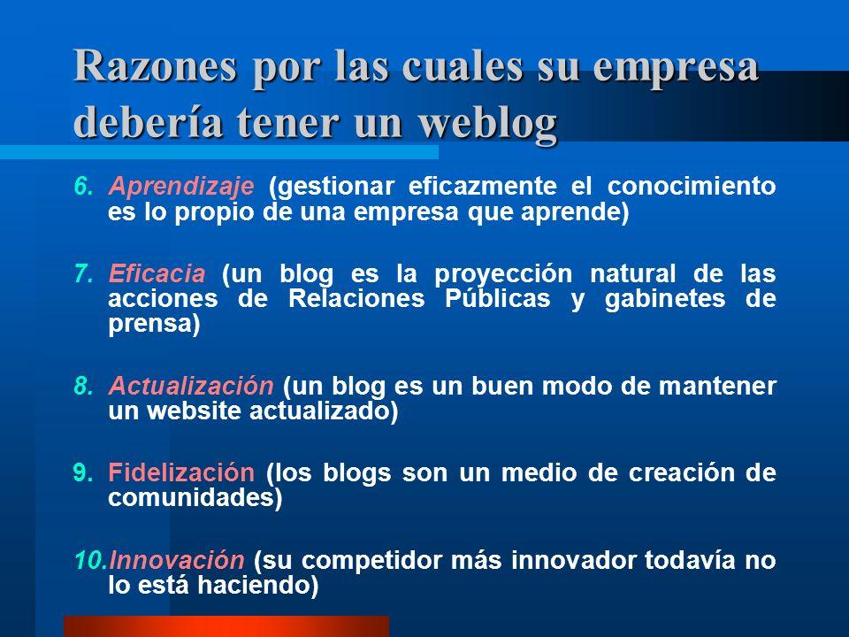 Razones por las cuales su empresa debería tener un weblog 6.Aprendizaje (gestionar eficazmente el conocimiento es lo propio de una empresa que aprende) 7.Eficacia (un blog es la proyección natural de las acciones de Relaciones Públicas y gabinetes de prensa) 8.Actualización (un blog es un buen modo de mantener un website actualizado) 9.Fidelización (los blogs son un medio de creación de comunidades) 10.Innovación (su competidor más innovador todavía no lo está haciendo)