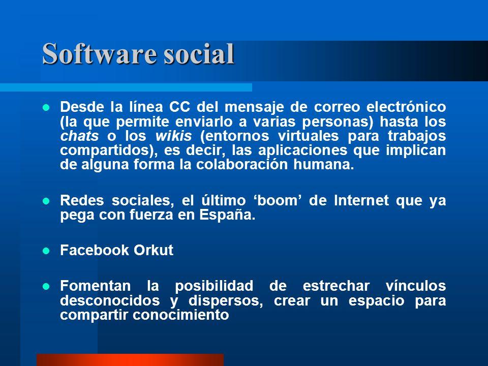Software social Desde la línea CC del mensaje de correo electrónico (la que permite enviarlo a varias personas) hasta los chats o los wikis (entornos virtuales para trabajos compartidos), es decir, las aplicaciones que implican de alguna forma la colaboración humana.