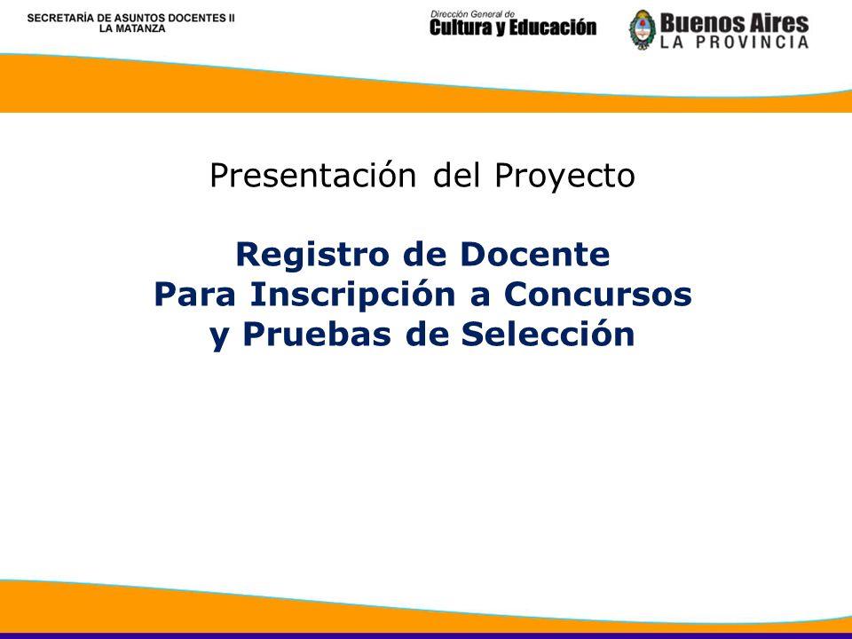 Presentación del Proyecto Registro de Docente Para Inscripción a Concursos y Pruebas de Selección