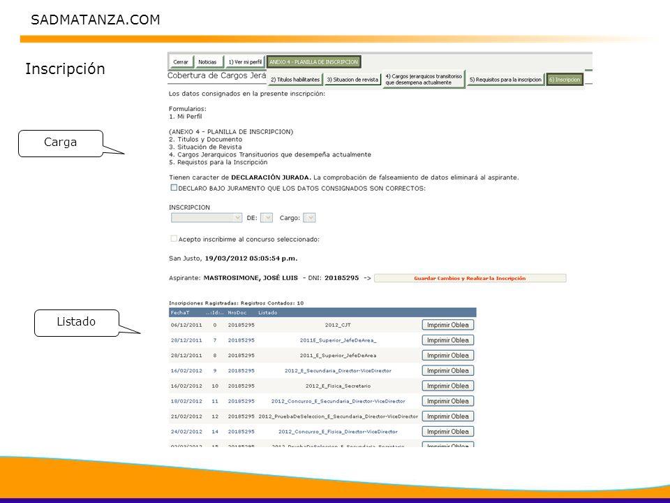 SADMATANZA.COM Inscripción Carga Listado