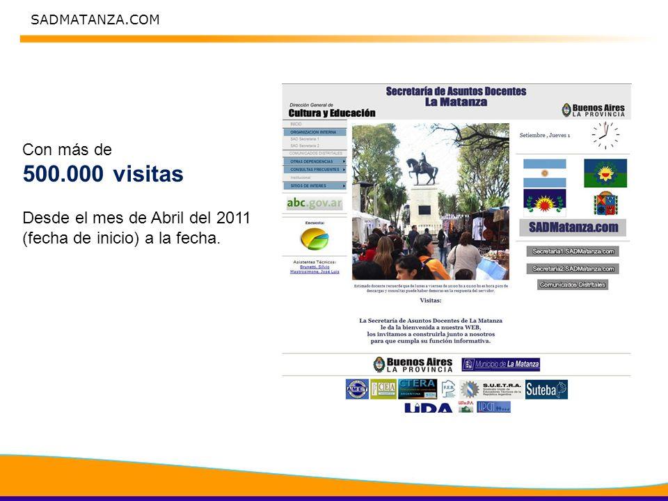Con más de 500.000 visitas Desde el mes de Abril del 2011 (fecha de inicio) a la fecha.