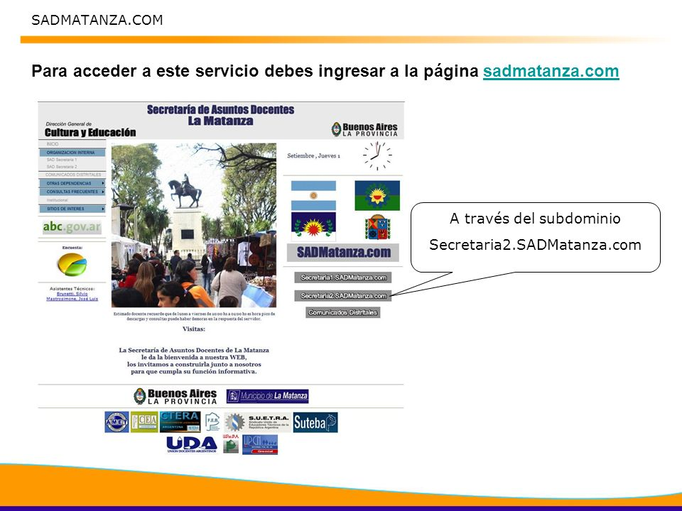 SADMATANZA.COM En Secretaria2.SADMatanza.com accedo a Registro de Docentes Registro de Docentes