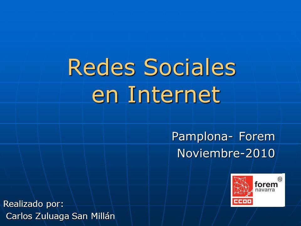 Redes Sociales en Internet Pamplona- Forem Noviembre-2010 Realizado por: Carlos Zuluaga San Millán Carlos Zuluaga San Millán