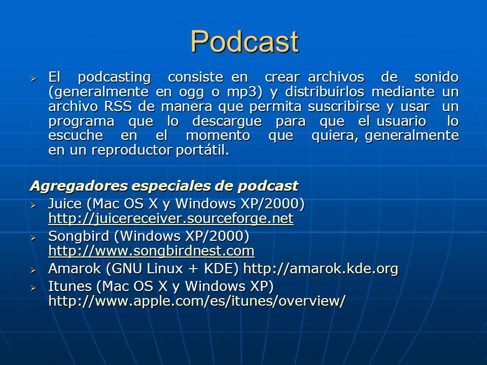 Podcast El podcasting consiste en crear archivos de sonido (generalmente en ogg o mp3) y distribuirlos mediante un archivo RSS de manera que permita suscribirse y usar un programa que lo descargue para que el usuario lo escuche en el momento que quiera, generalmente en un reproductor portátil.