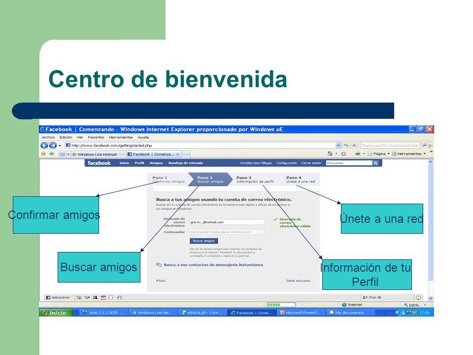 Centro de bienvenida Confirmar amigos Buscar amigos Información de tu Perfil Únete a una red