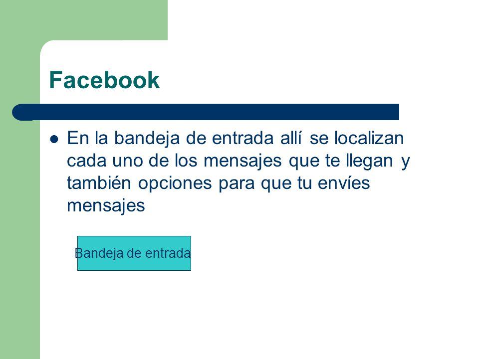 Facebook En la bandeja de entrada allí se localizan cada uno de los mensajes que te llegan y también opciones para que tu envíes mensajes Bandeja de entrada