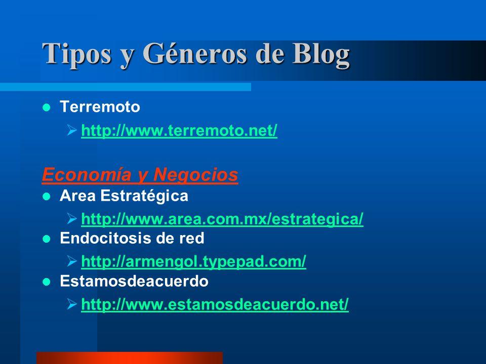 Terremoto http://www.terremoto.net/ Economía y Negocios Area Estratégica http://www.area.com.mx/estrategica/ Endocitosis de red http://armengol.typepad.com/ Estamosdeacuerdo http://www.estamosdeacuerdo.net/ Tipos y Géneros de Blog