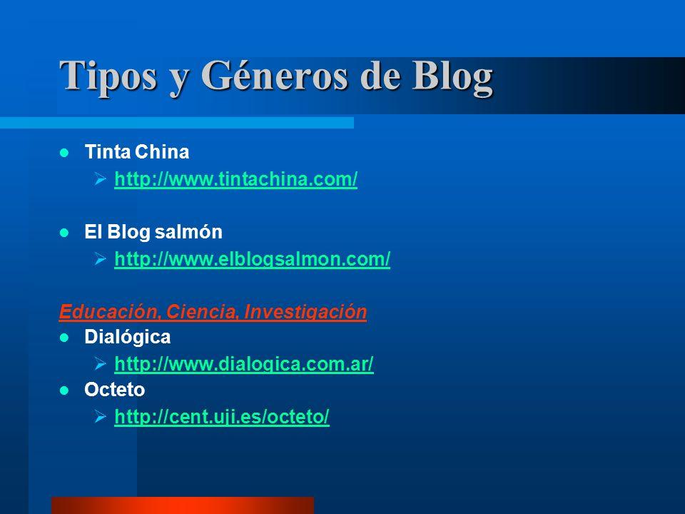 Tinta China http://www.tintachina.com/ El Blog salmón http://www.elblogsalmon.com/ Educación, Ciencia, Investigación Dialógica http://www.dialogica.com.ar/ Octeto http://cent.uji.es/octeto/ Tipos y Géneros de Blog