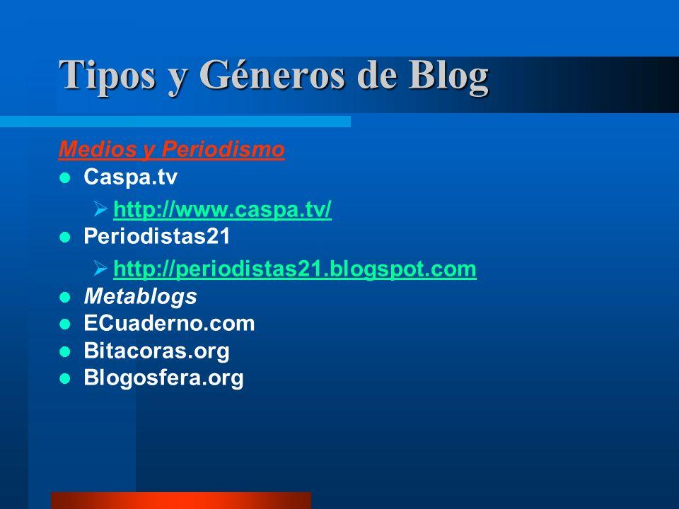 Medios y Periodismo Caspa.tv http://www.caspa.tv/ Periodistas21 http://periodistas21.blogspot.com Metablogs ECuaderno.com Bitacoras.org Blogosfera.org Tipos y Géneros de Blog