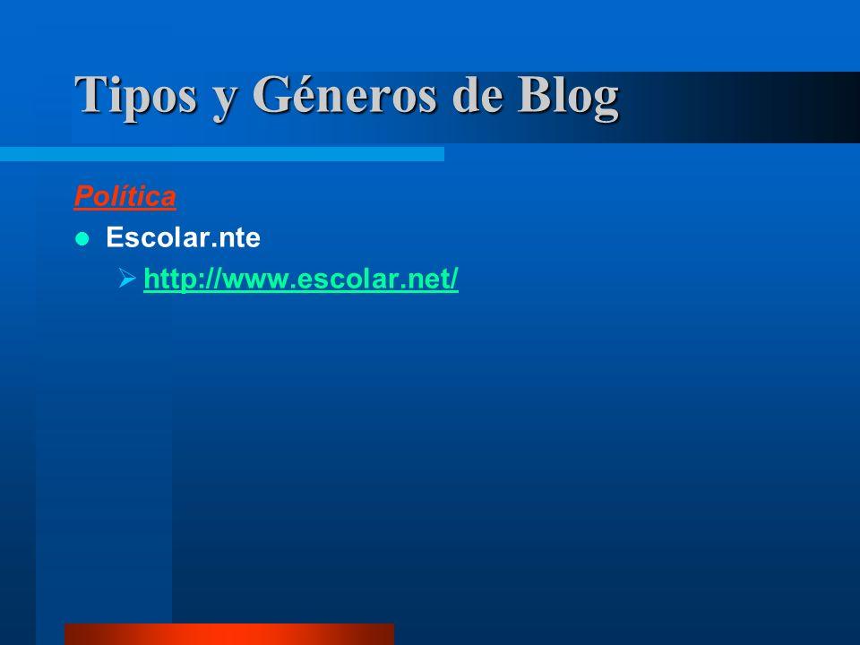 Política Escolar.nte http://www.escolar.net/ Tipos y Géneros de Blog