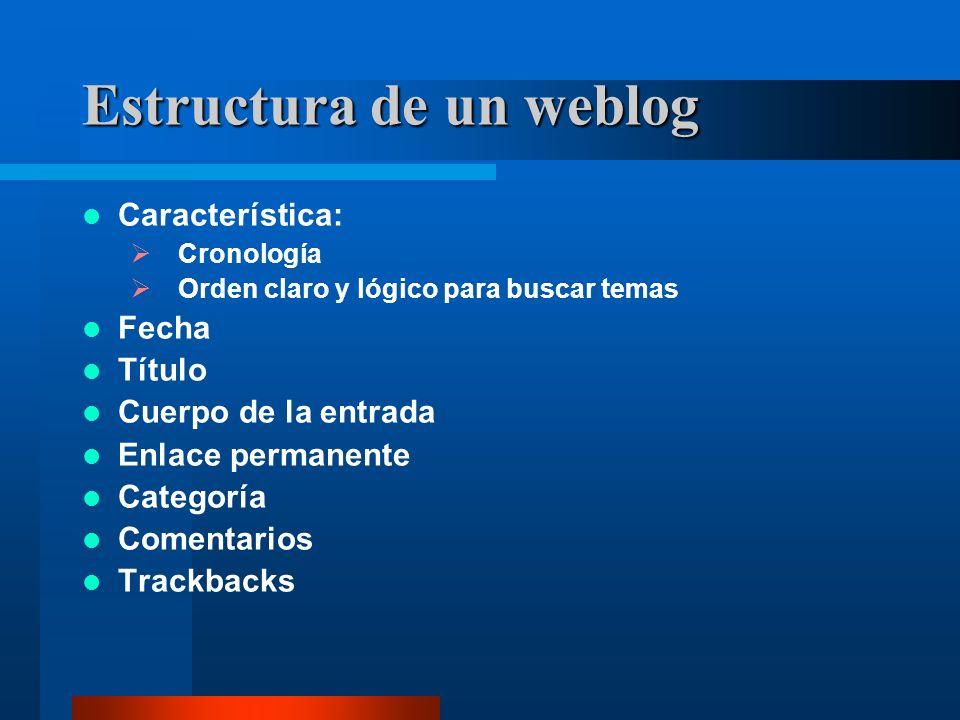 Estructura de un weblog Característica: Cronología Orden claro y lógico para buscar temas Fecha Título Cuerpo de la entrada Enlace permanente Categoría Comentarios Trackbacks