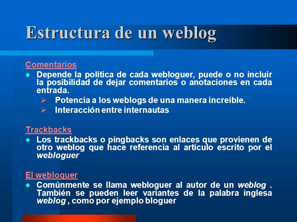 Estructura de un weblog Comentarios Depende la política de cada webloguer, puede o no incluir la posibilidad de dejar comentarios o anotaciones en cada entrada.