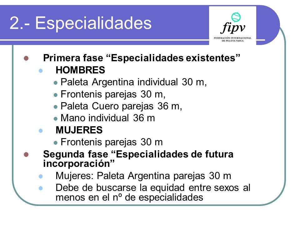 2.- Especialidades Primera fase Especialidades existentes HOMBRES Paleta Argentina individual 30 m, Frontenis parejas 30 m, Paleta Cuero parejas 36 m,