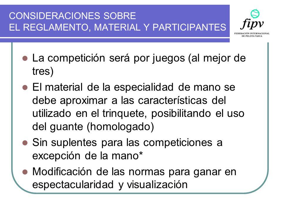 CONSIDERACIONES SOBRE EL REGLAMENTO, MATERIAL Y PARTICIPANTES La competición será por juegos (al mejor de tres) El material de la especialidad de mano
