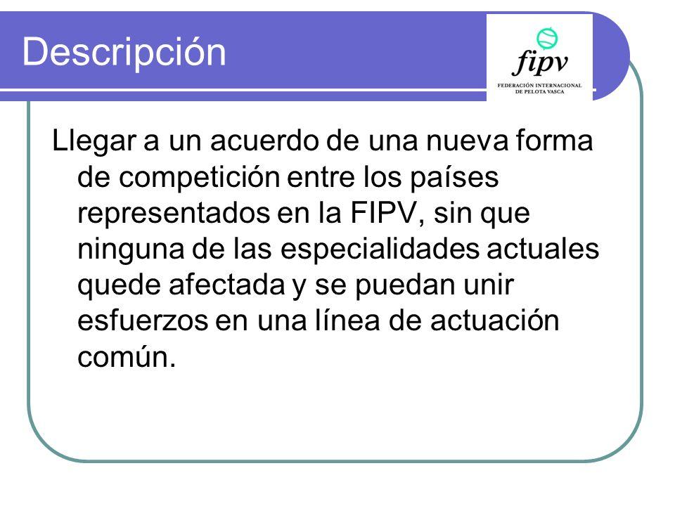 Descripción Llegar a un acuerdo de una nueva forma de competición entre los países representados en la FIPV, sin que ninguna de las especialidades act
