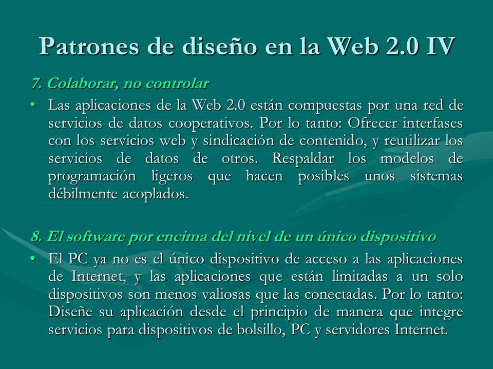 Patrones de diseño en la Web 2.0 IV 7.