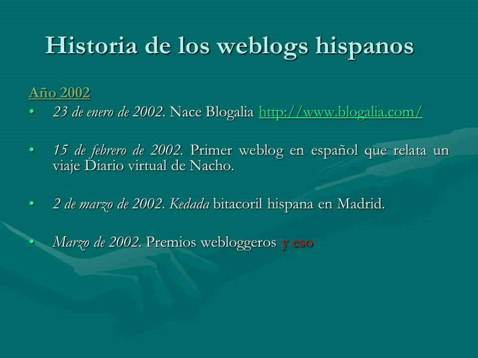 Año 2002 23 de enero de 2002. Nace Blogalia http://www.blogalia.com/23 de enero de 2002.