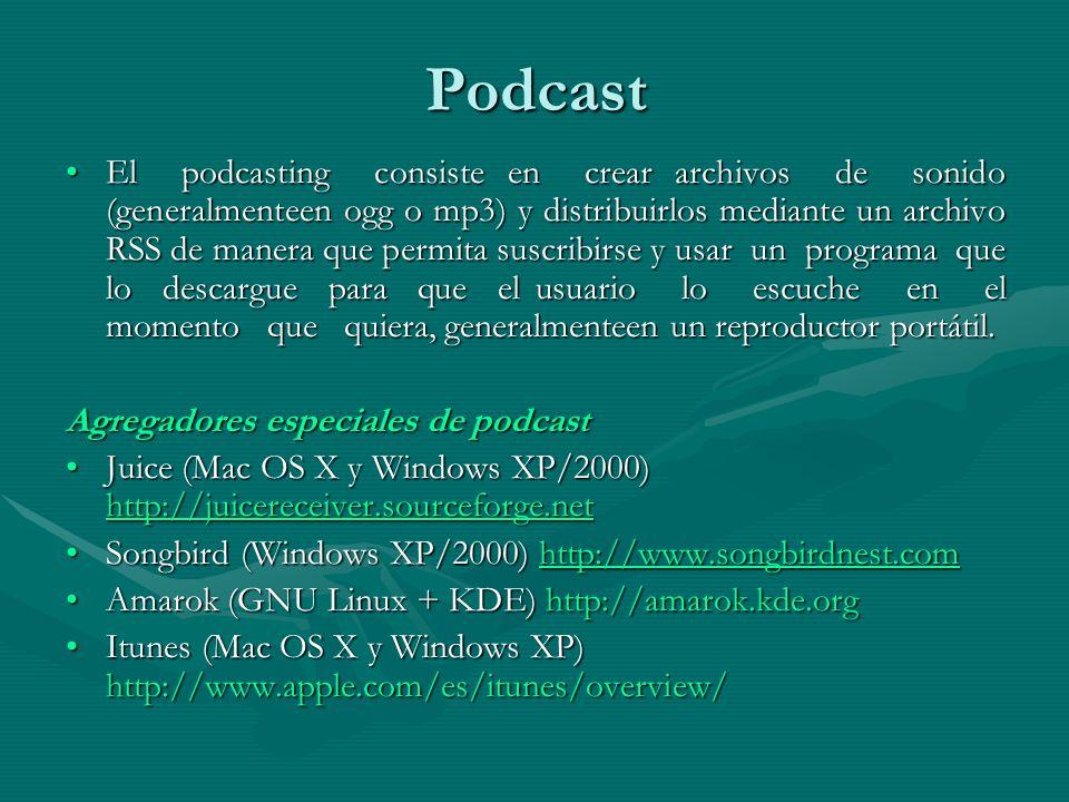 Podcast El podcasting consiste en crear archivos de sonido (generalmenteen ogg o mp3) y distribuirlos mediante un archivo RSS de manera que permita suscribirse y usar un programa que lo descargue para que el usuario lo escuche en el momento que quiera, generalmenteen un reproductor portátil.El podcasting consiste en crear archivos de sonido (generalmenteen ogg o mp3) y distribuirlos mediante un archivo RSS de manera que permita suscribirse y usar un programa que lo descargue para que el usuario lo escuche en el momento que quiera, generalmenteen un reproductor portátil.