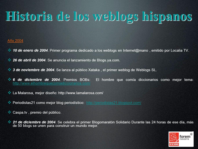 Año 2004 10 de enero de 2004. Primer programa dedicado a los weblogs en Internet@mano, emitido por Localia TV. 26 de abril de 2004. Se anuncia el lanz