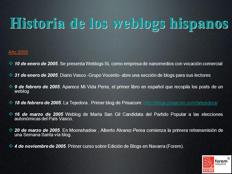 Año 2005 10 de enero de 2005. Se presenta Weblogs SL como empresa de nanomedios con vocación comercial 31 de enero de 2005. Diario Vasco -Grupo Vocent