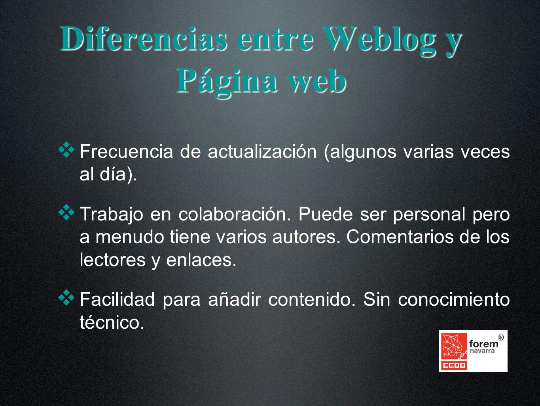 Diferencias entre Weblog y Página web Frecuencia de actualización (algunos varias veces al día). Trabajo en colaboración. Puede ser personal pero a me