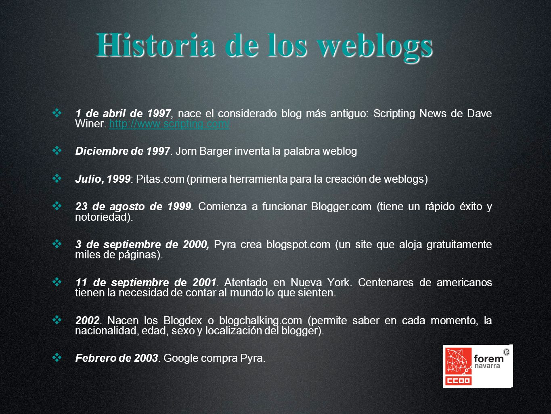 Historia de los weblogs 1 de abril de 1997, nace el considerado blog más antiguo: Scripting News de Dave Winer. http://www.scripting.com/http://www.sc