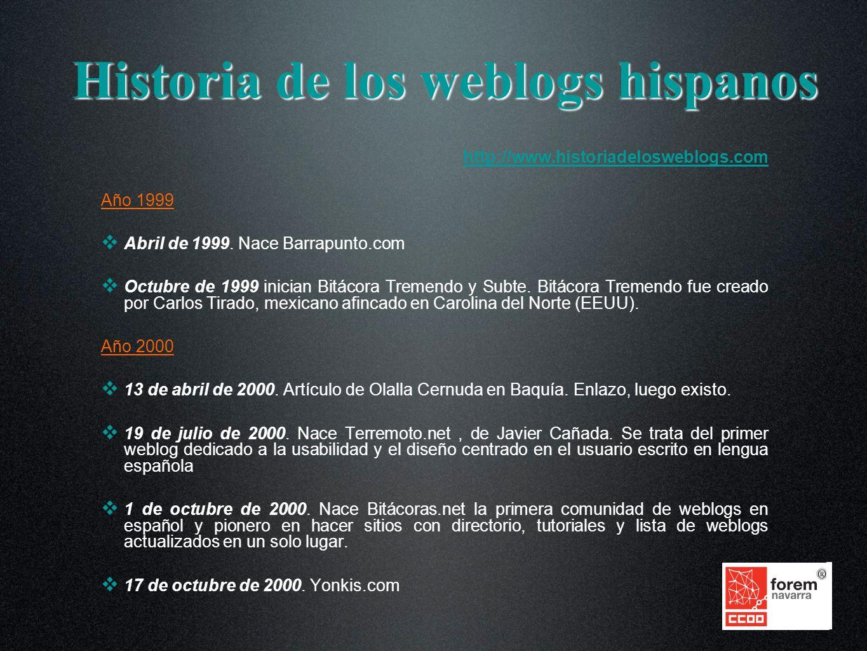 Historia de los weblogs hispanos http://www.historiadelosweblogs.com Año 1999 Abril de 1999.