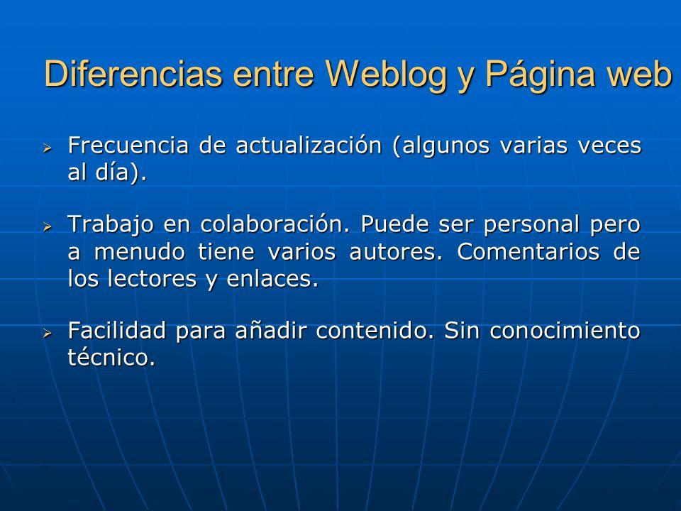 Diferencias entre Weblog y Página web Frecuencia de actualización (algunos varias veces al día).
