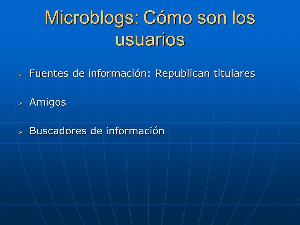 Microblogs: Cómo son los usuarios Fuentes de información: Republican titulares Fuentes de información: Republican titulares Amigos Amigos Buscadores de información Buscadores de información