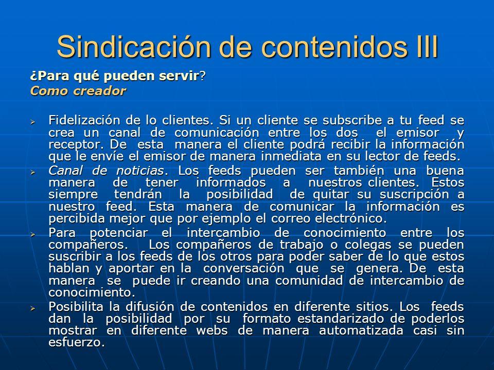 Sindicación de contenidos III ¿Para qué pueden servir.