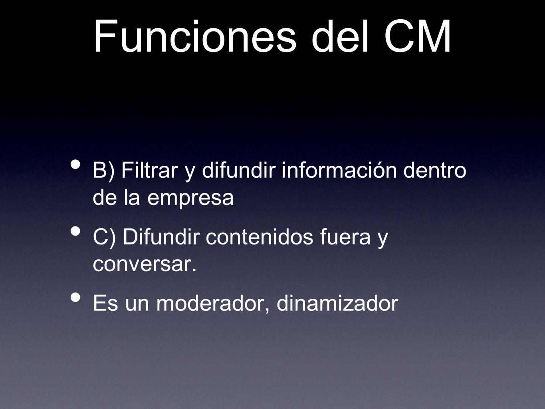 Funciones del CM B) Filtrar y difundir información dentro de la empresa C) Difundir contenidos fuera y conversar. Es un moderador, dinamizador