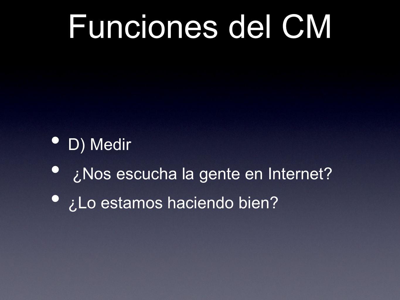Funciones del CM D) Medir ¿Nos escucha la gente en Internet? ¿Lo estamos haciendo bien?