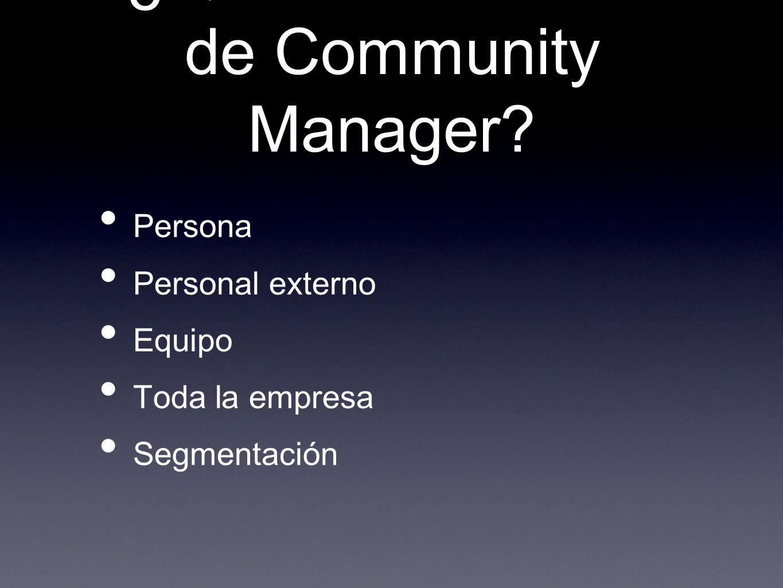 ¿Quién debe hacer de Community Manager? Persona Personal externo Equipo Toda la empresa Segmentación