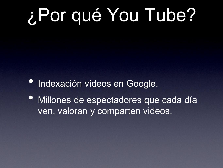 ¿Por qué You Tube? Indexación videos en Google. Millones de espectadores que cada día ven, valoran y comparten videos.