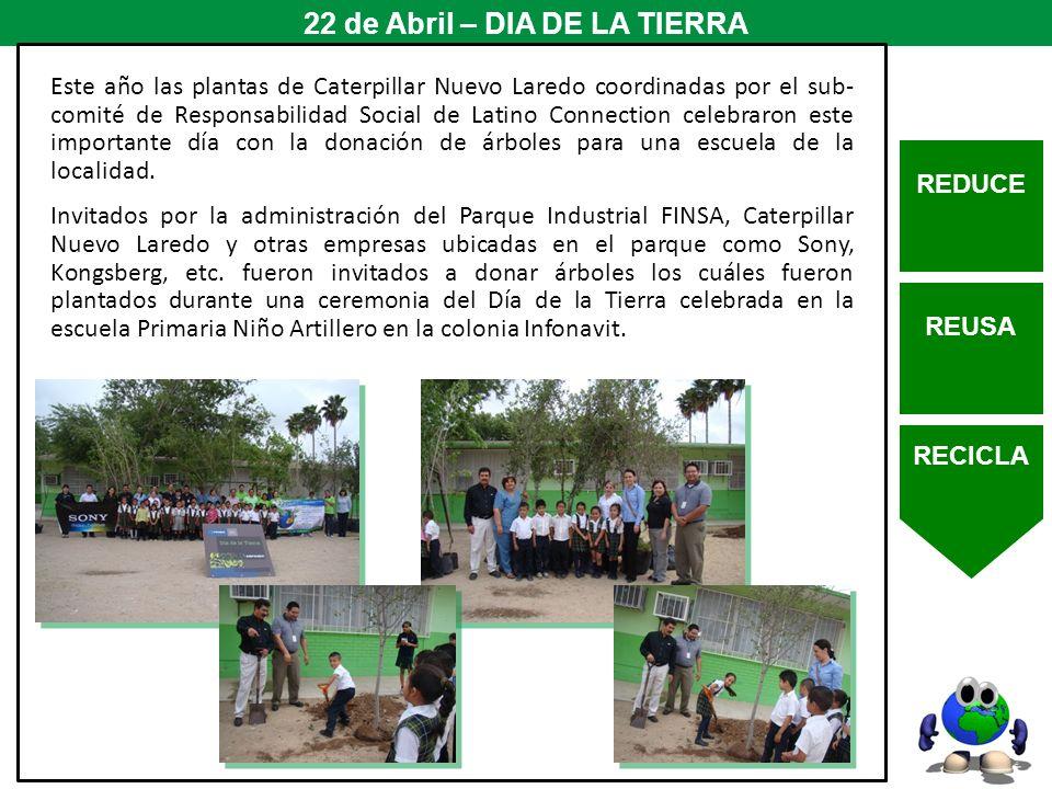 REDUCE REUSA RECICLA 22 de Abril – DIA DE LA TIERRA Este año las plantas de Caterpillar Nuevo Laredo coordinadas por el sub- comité de Responsabilidad