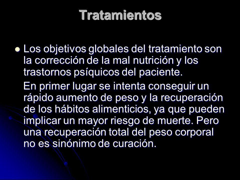 Tratamientos Los objetivos globales del tratamiento son la corrección de la mal nutrición y los trastornos psíquicos del paciente. Los objetivos globa