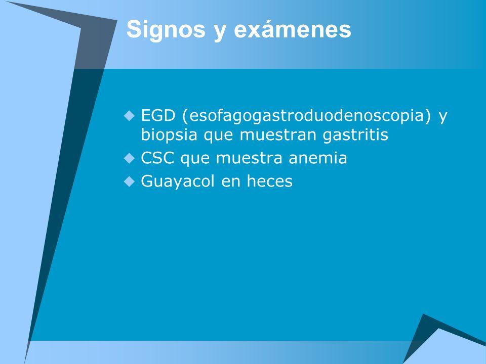 Signos y exámenes EGD (esofagogastroduodenoscopia) y biopsia que muestran gastritis CSC que muestra anemia Guayacol en heces