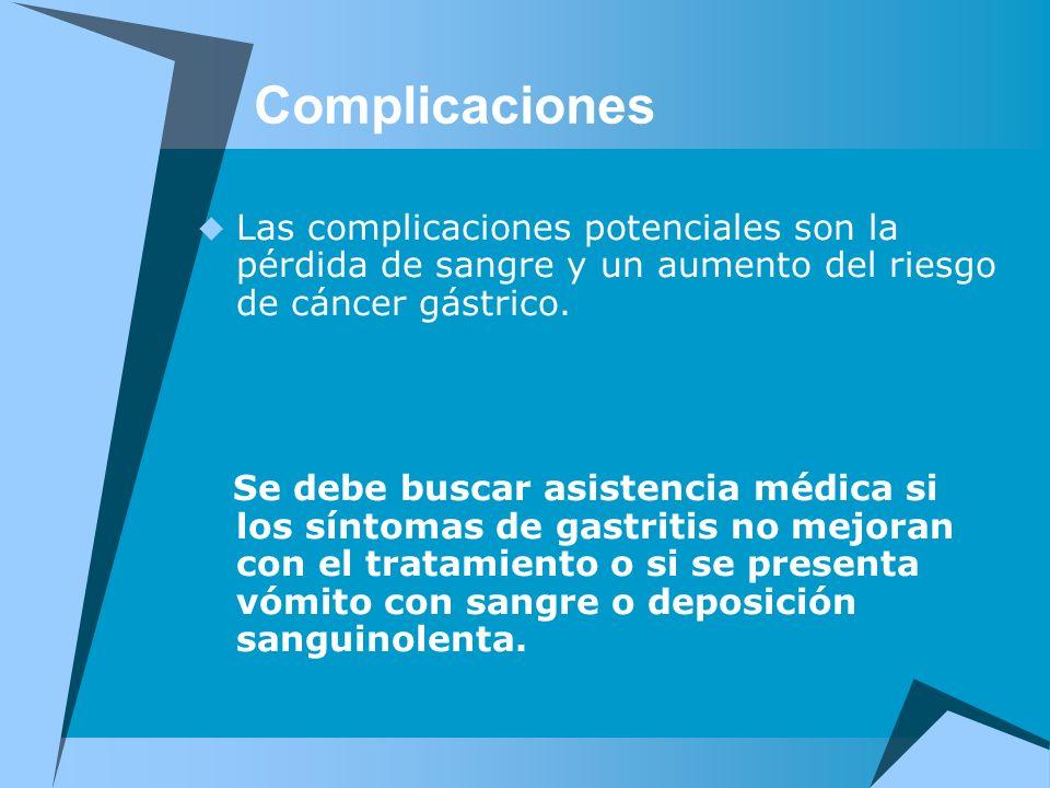 Complicaciones Las complicaciones potenciales son la pérdida de sangre y un aumento del riesgo de cáncer gástrico. Se debe buscar asistencia médica si