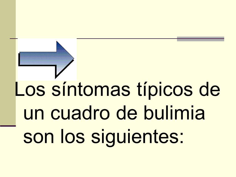 Los síntomas típicos de un cuadro de bulimia son los siguientes: