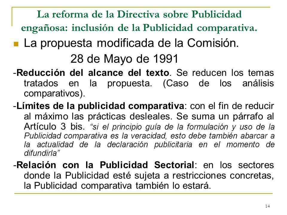 14 La reforma de la Directiva sobre Publicidad engañosa: inclusión de la Publicidad comparativa.