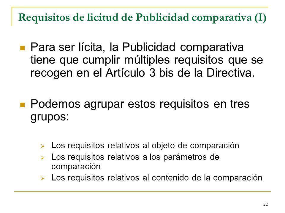 22 Requisitos de licitud de Publicidad comparativa (I) Para ser lícita, la Publicidad comparativa tiene que cumplir múltiples requisitos que se recogen en el Artículo 3 bis de la Directiva.
