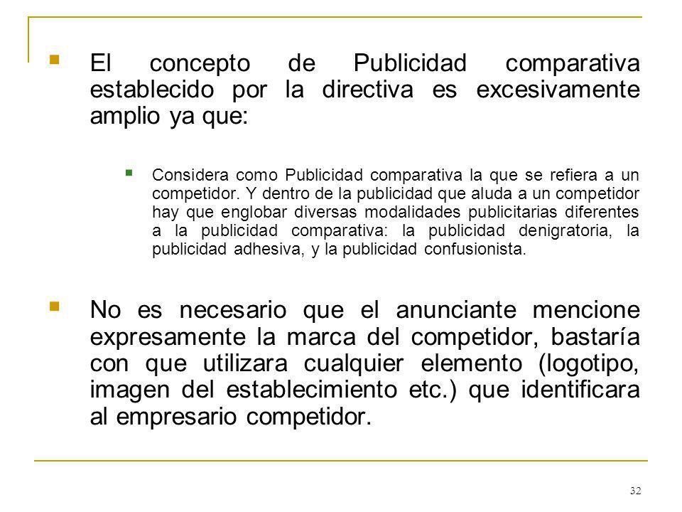 32 El concepto de Publicidad comparativa establecido por la directiva es excesivamente amplio ya que: Considera como Publicidad comparativa la que se refiera a un competidor.