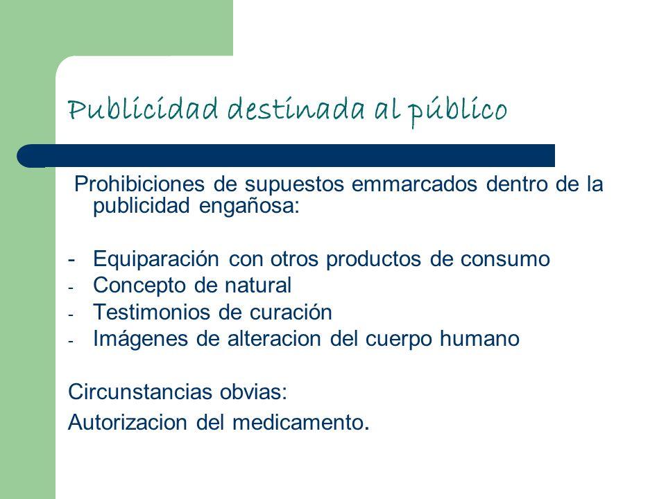 Publicidad destinada al público Prohibiciones de supuestos emmarcados dentro de la publicidad engañosa: - Equiparación con otros productos de consumo