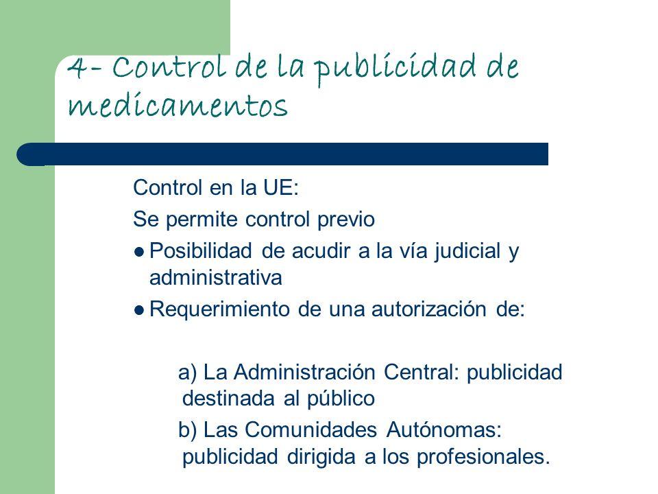 4- Control de la publicidad de medicamentos Control en la UE: Se permite control previo Posibilidad de acudir a la vía judicial y administrativa Reque